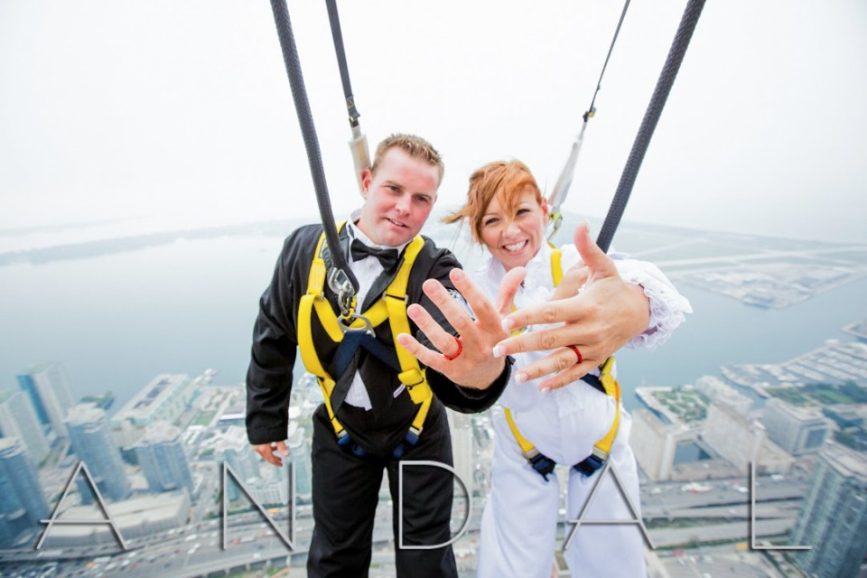 Wedding Photos At The Edgewalk CN Tower Toronto With Press Release Wedding Photographer In