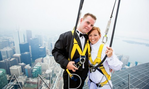 Wedding Photos at the Edgewalk CN Tower - Toronto with Press Release